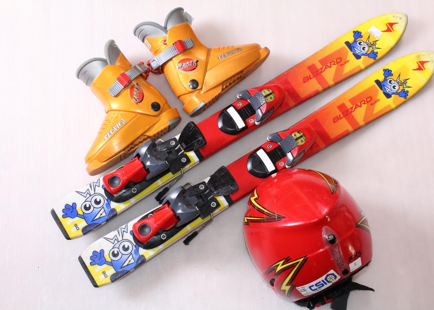 Dětské lyže  Blizzi 80 cm + lyžáky  26EU + helma