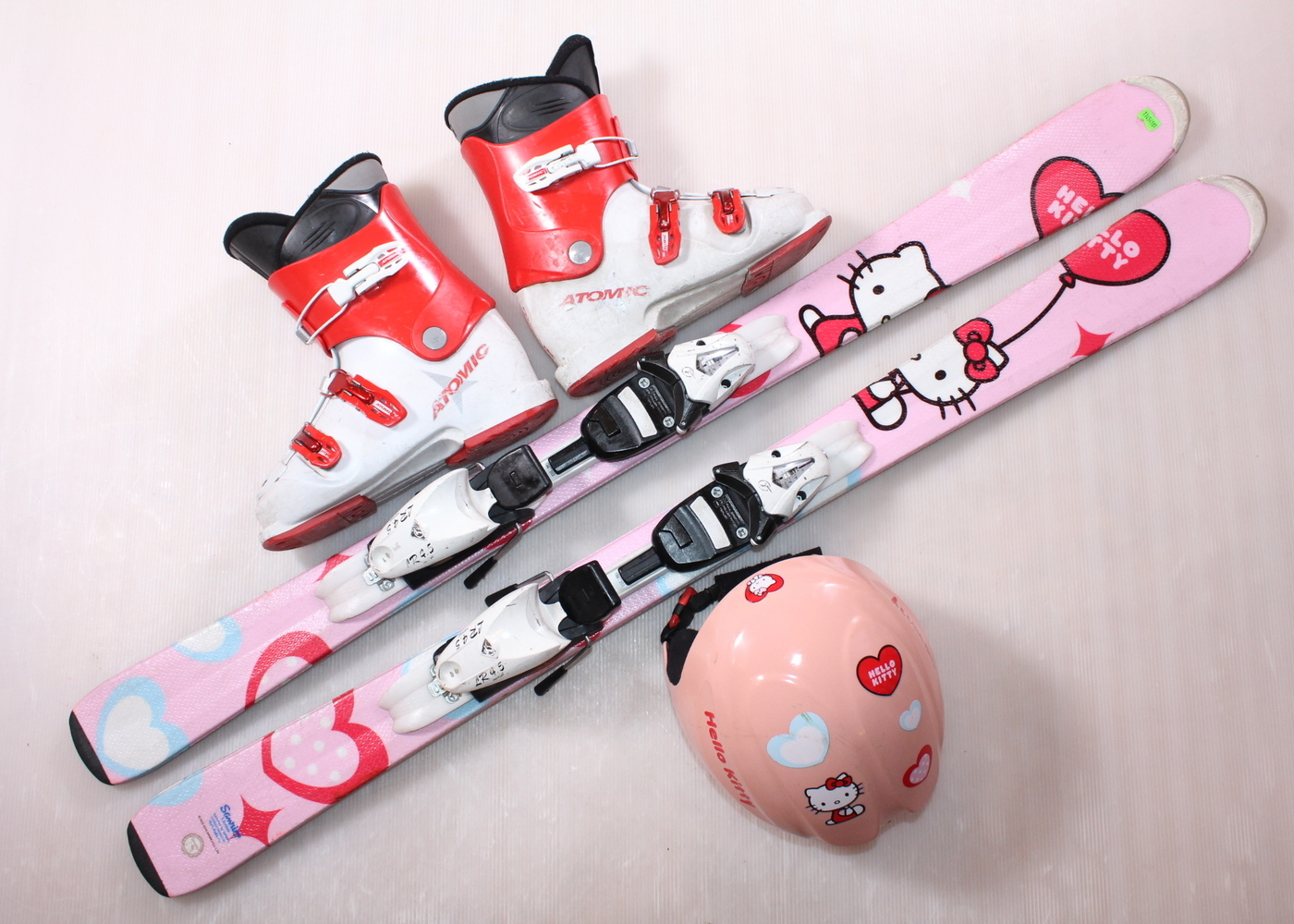 Dětské lyže HEAD HELLO KITTY 120 cm + lyžáky  36.5EU + helma