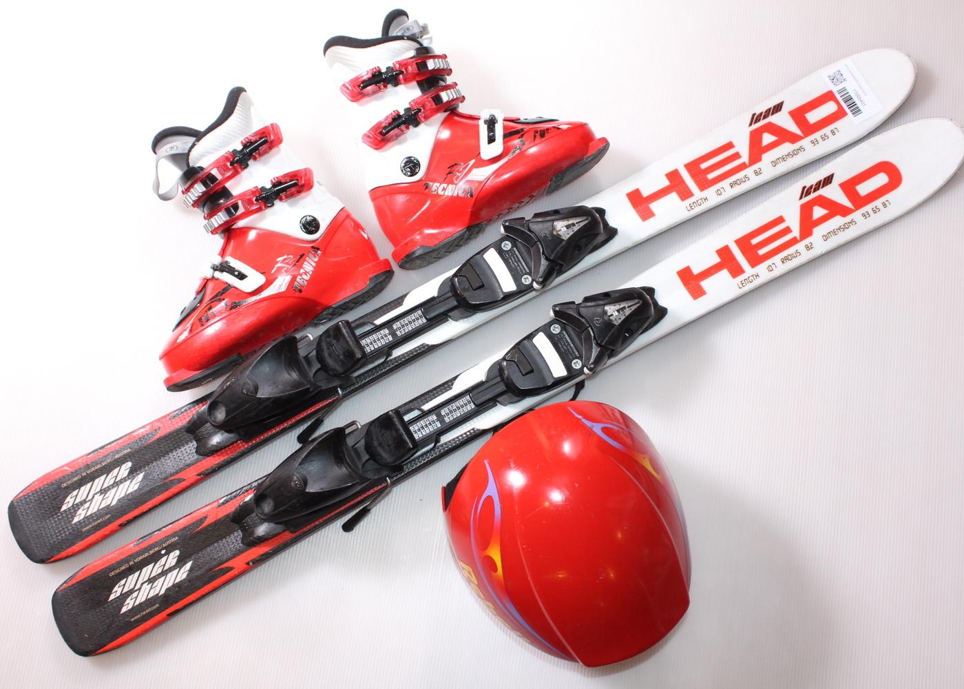 Dětské lyže HEAD SUPERSHAPE TEAM 107 cm + lyžáky  33EU + helma