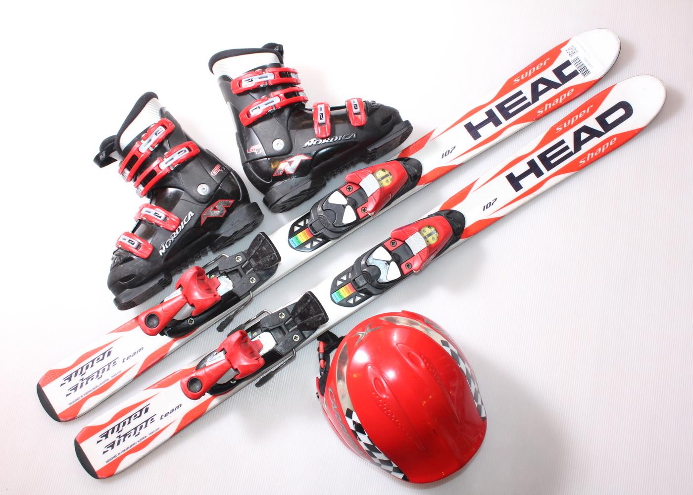 Dětské lyže HEAD SUPERSHAPE  107 cm + lyžáky  33EU + helma