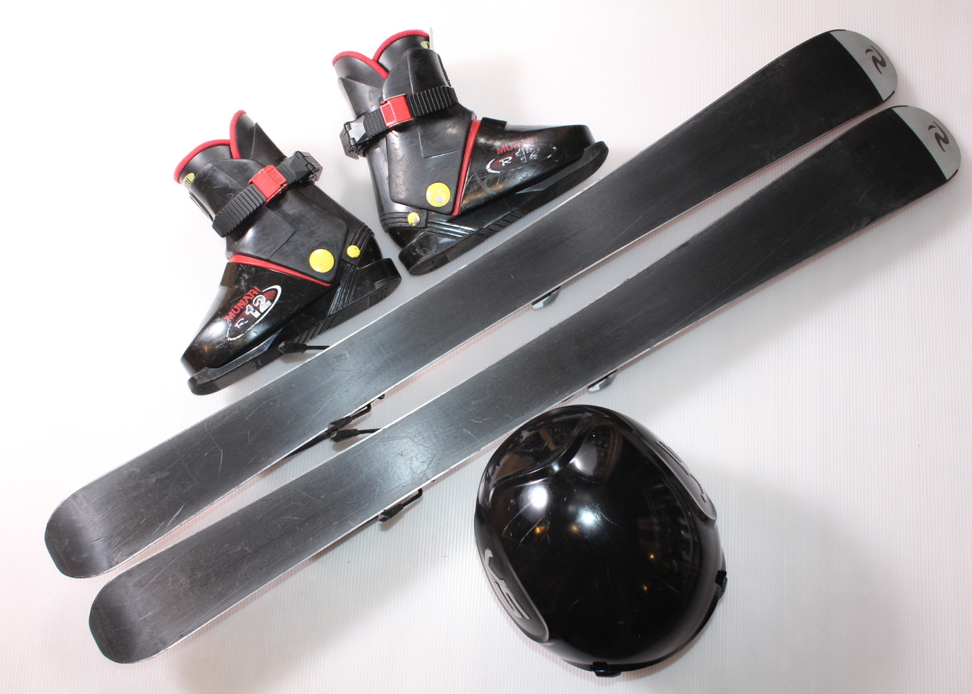 Dětské lyže ROSSIGNOL ROBOT 100 cm + lyžáky  31EU + helma