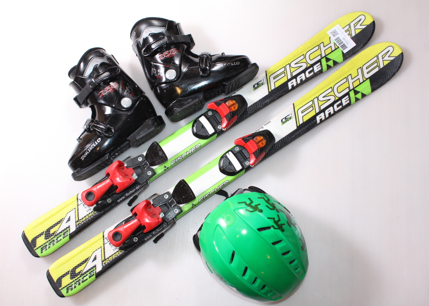 Dětské lyže FISCHER RC4 RACE 100 cm + lyžáky  31EU + helma