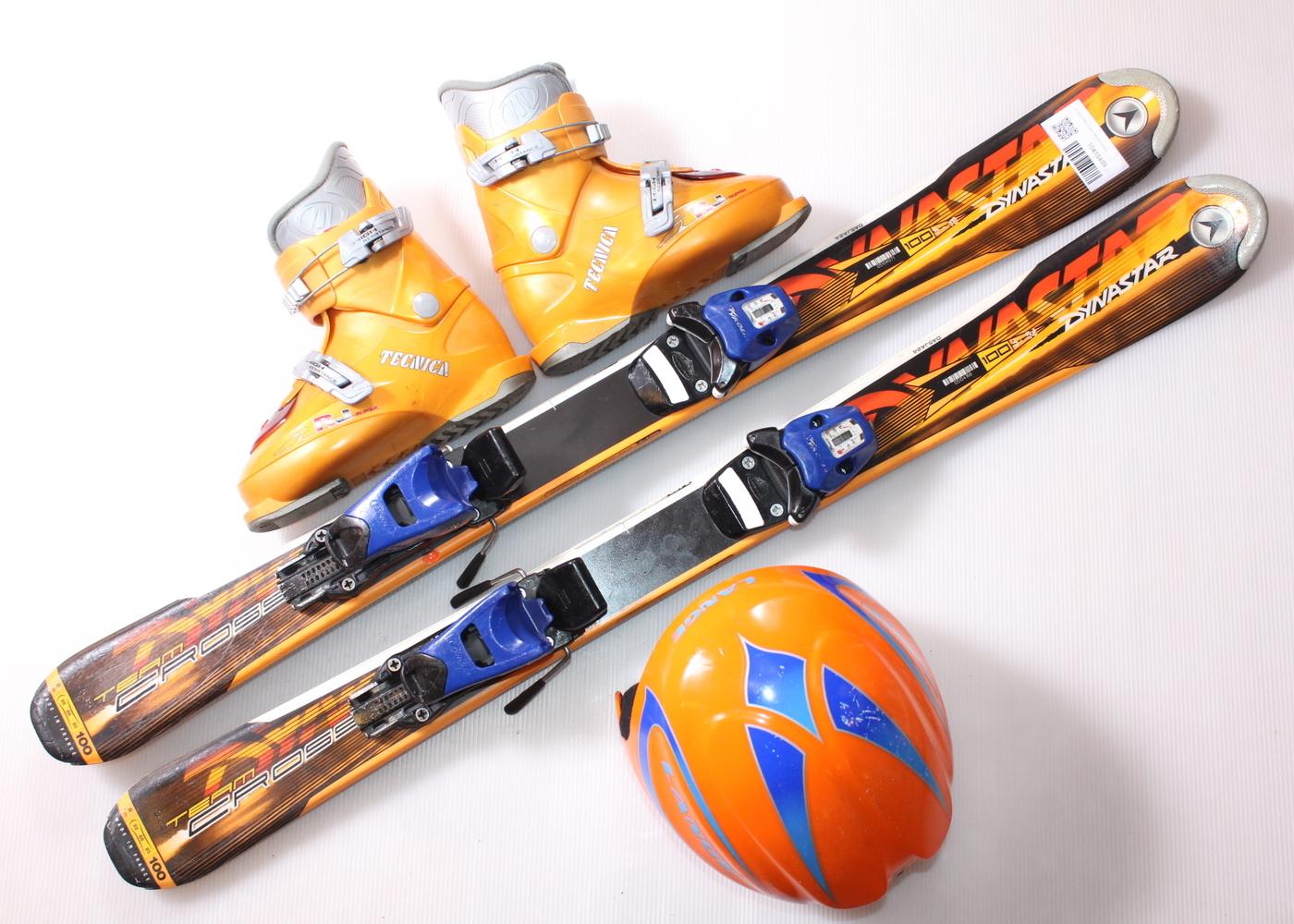 Dětské lyže DYNASTAR TEAM CROSS 100 cm + lyžáky  31EU + helma