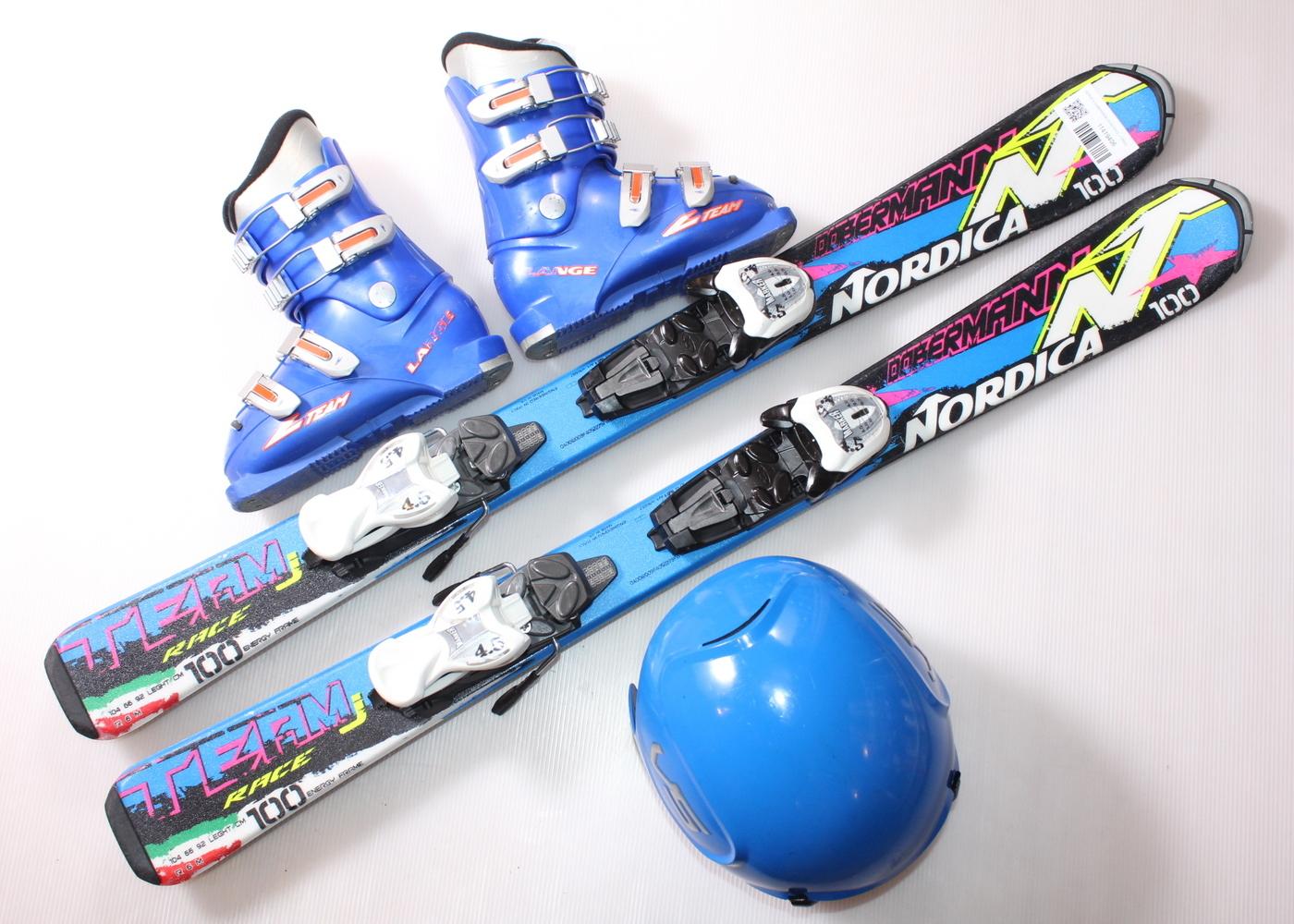 Dětské lyže NORDICA DOBERMANN TEAM RACE J 100 cm + lyžáky  30.5EU + helma