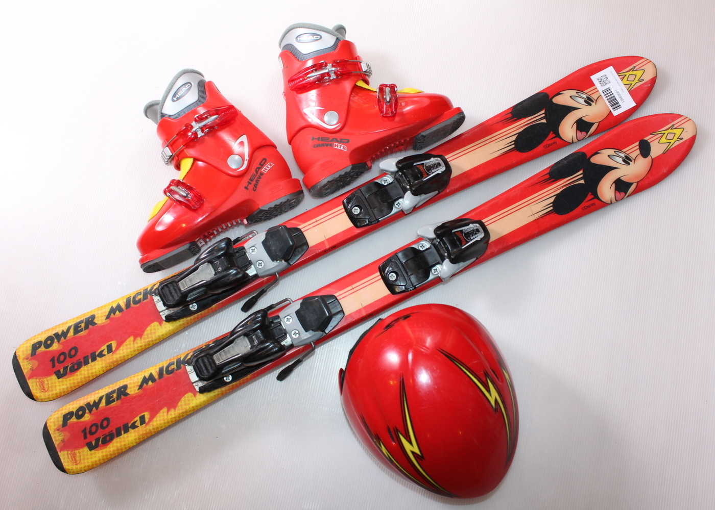 Dětské lyže VOLKL FOVER MICKEY 100 cm + lyžáky  32EU + helma
