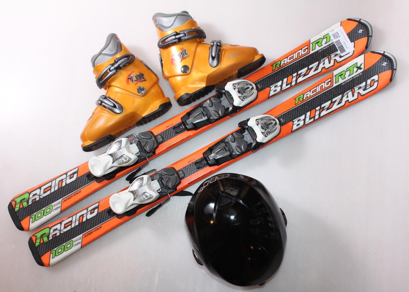 Dětské lyže BLIZZARD RTX RACING 100 cm + lyžáky  31EU + helma