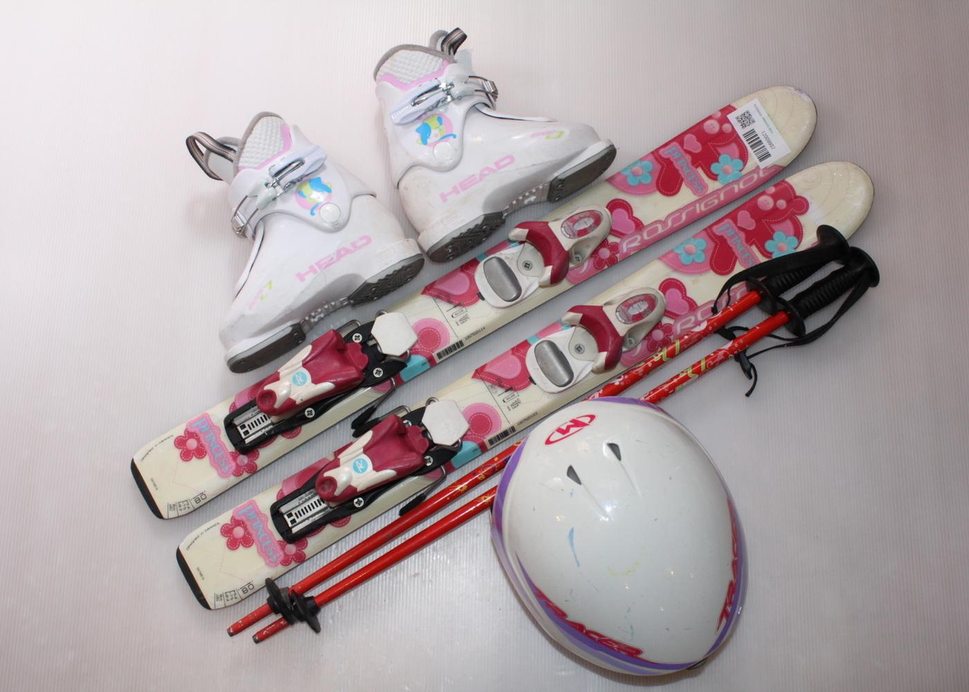 Dětské lyže ROSSIGNOL PRINCESS 80 cm + lyžáky  29EU + helma