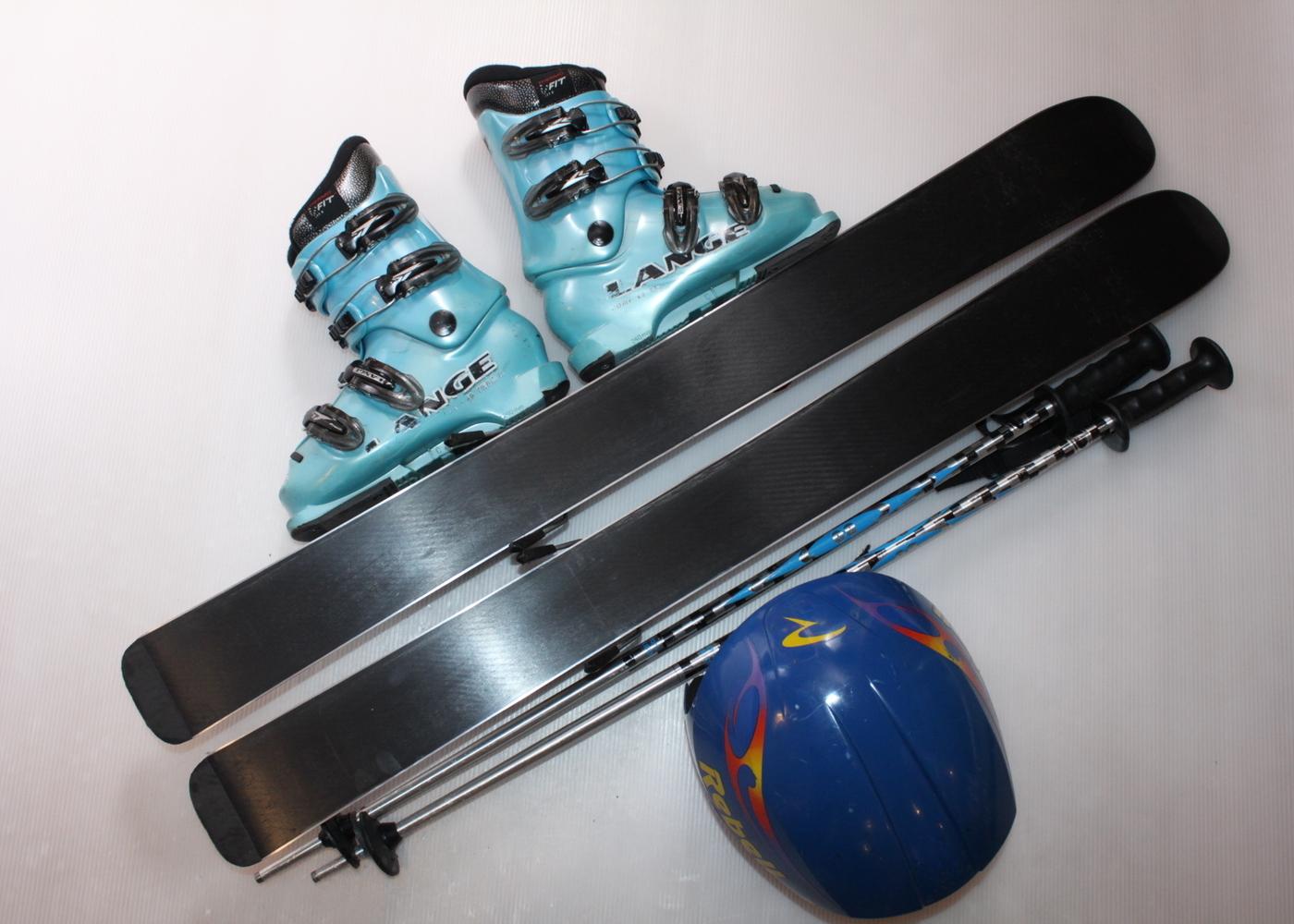 Dětské lyže ROSSIGNOL ROBOT 93 cm + lyžáky  30.5EU + helma