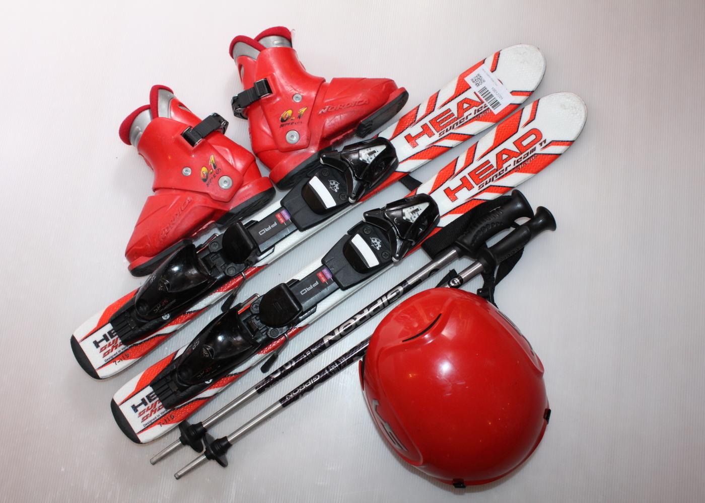Dětské lyže HEAD SUPER TEAM 77 cm + lyžáky  29EU + helma