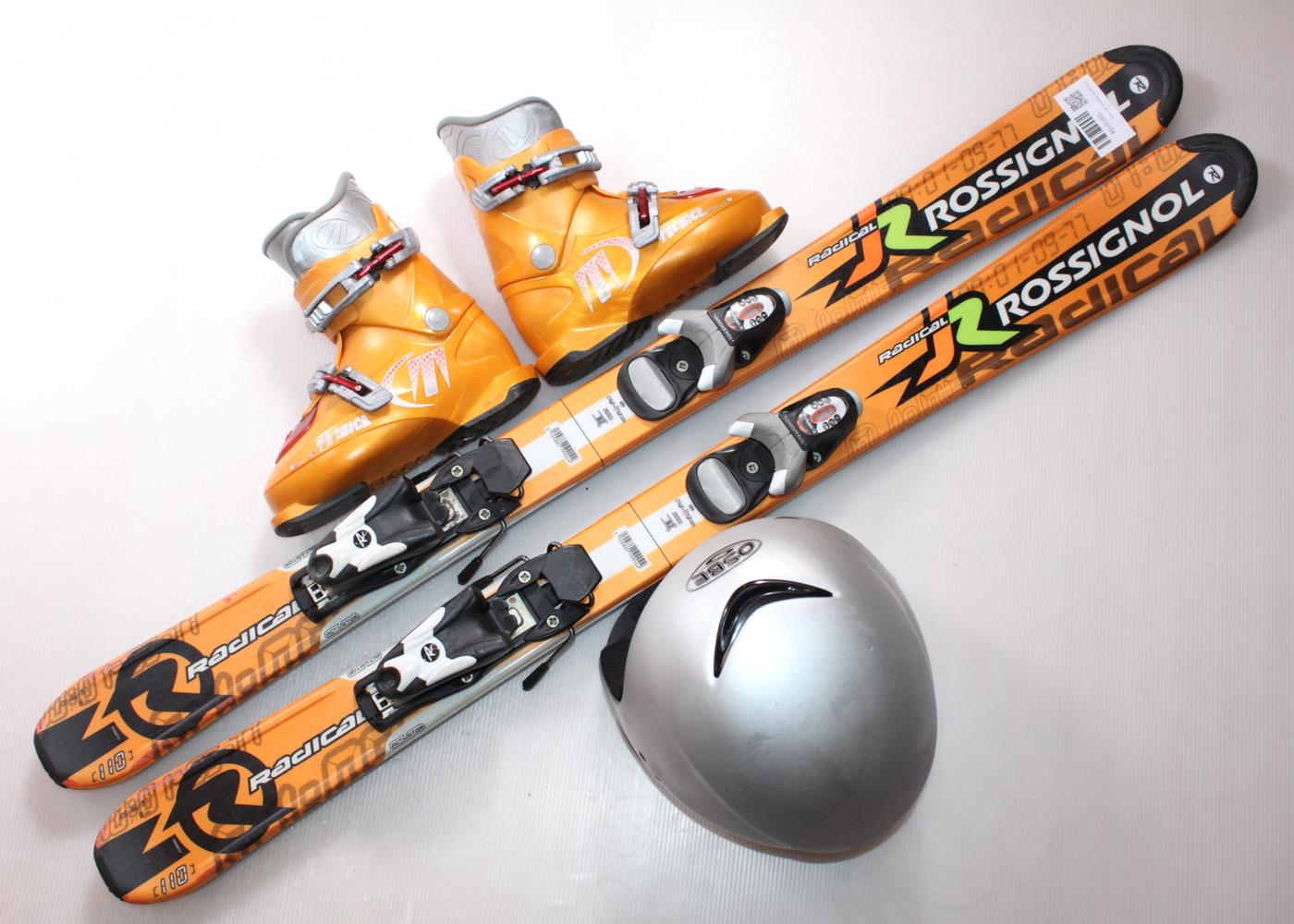 Dětské lyže ROSSIGNOL RADICAL JR 110 cm + lyžáky  31EU + helma