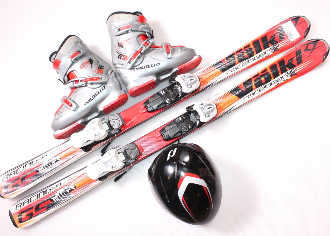 Dětské lyže VOLKL RACETIGER JUNIOR GS 120 cm + lyžáky  36.5EU + helma