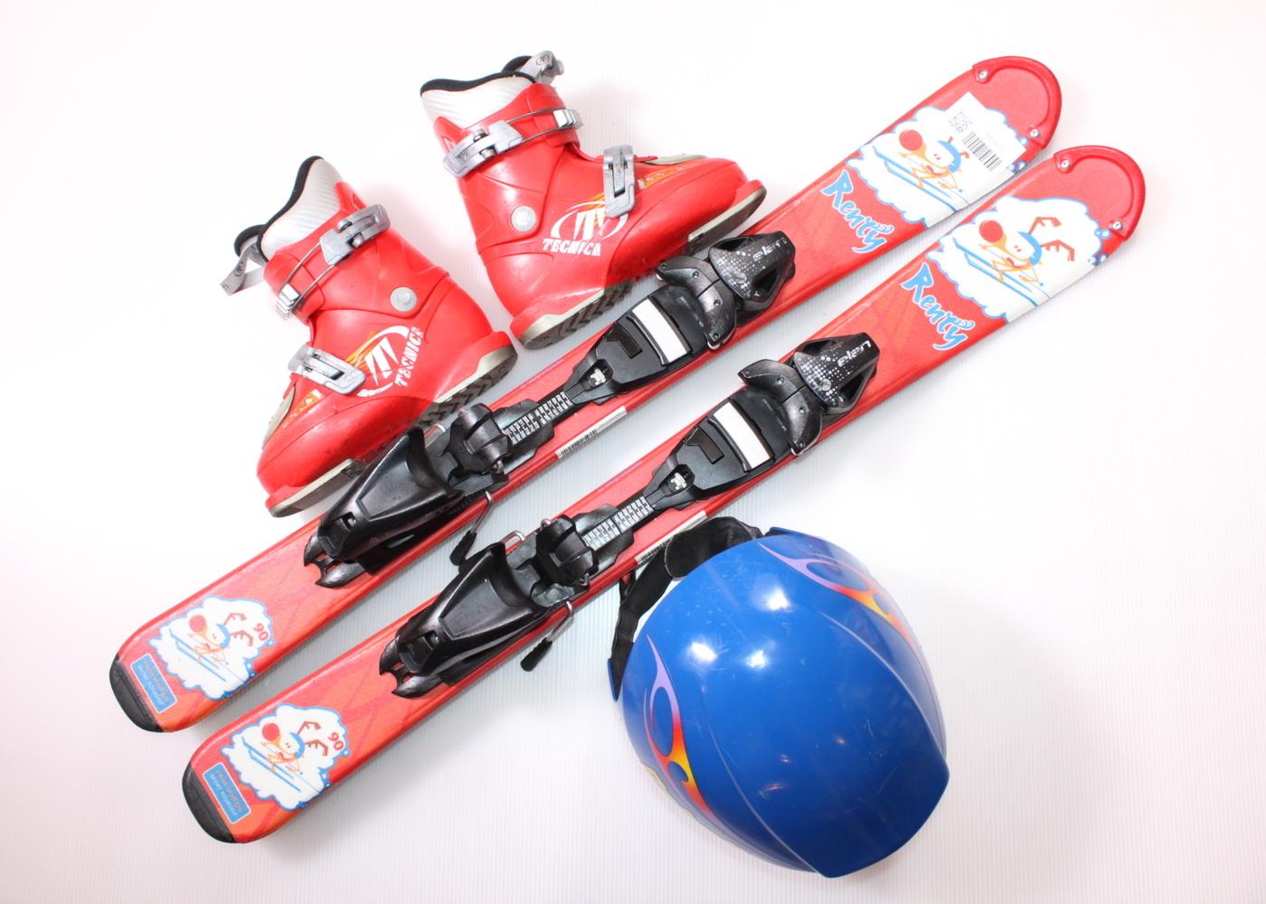 Dětské lyže DYNASTAR LITTLE RENTY 90 cm + lyžáky  30EU + helma