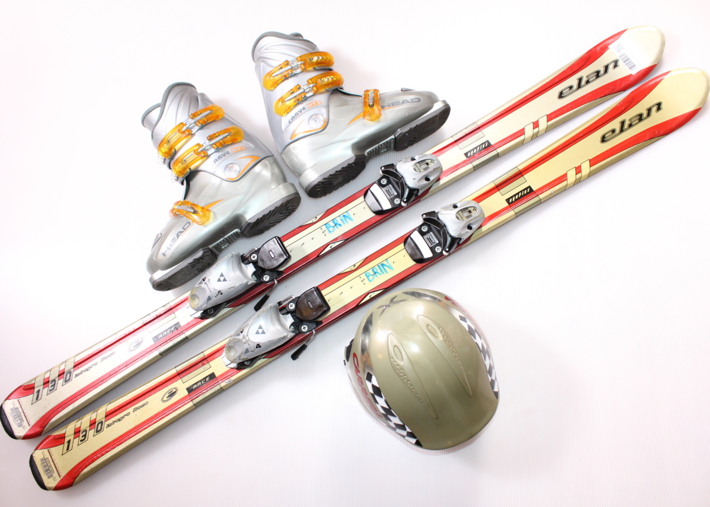 Dětské lyže ELAN SYNFLEX 130 cm + lyžáky  38EU + helma