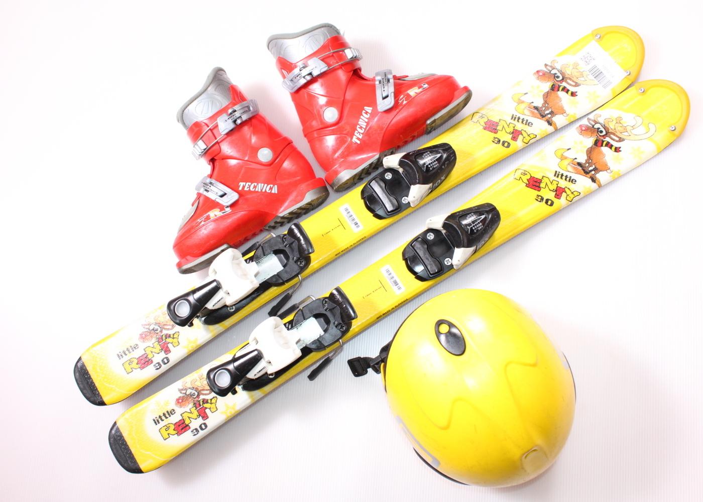 Dětské lyže DYNASTAR LITTLE RENTY 90 cm + lyžáky  28.5EU + helma