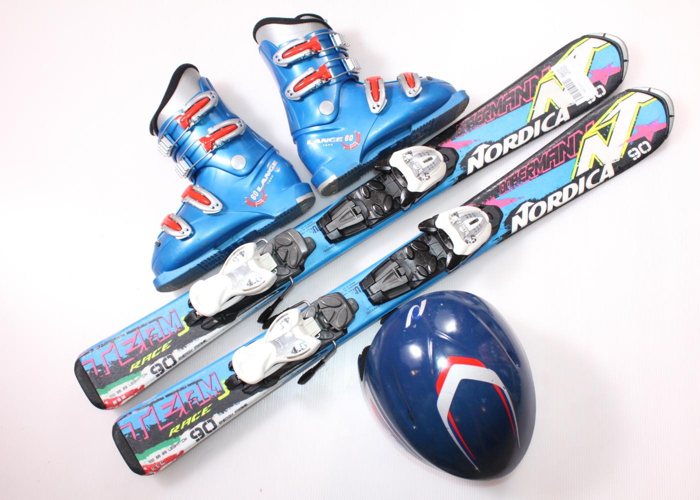 Dětské lyže NORDICA DOBERMANN TEAM RACE J 90 cm + lyžáky  32EU + helma