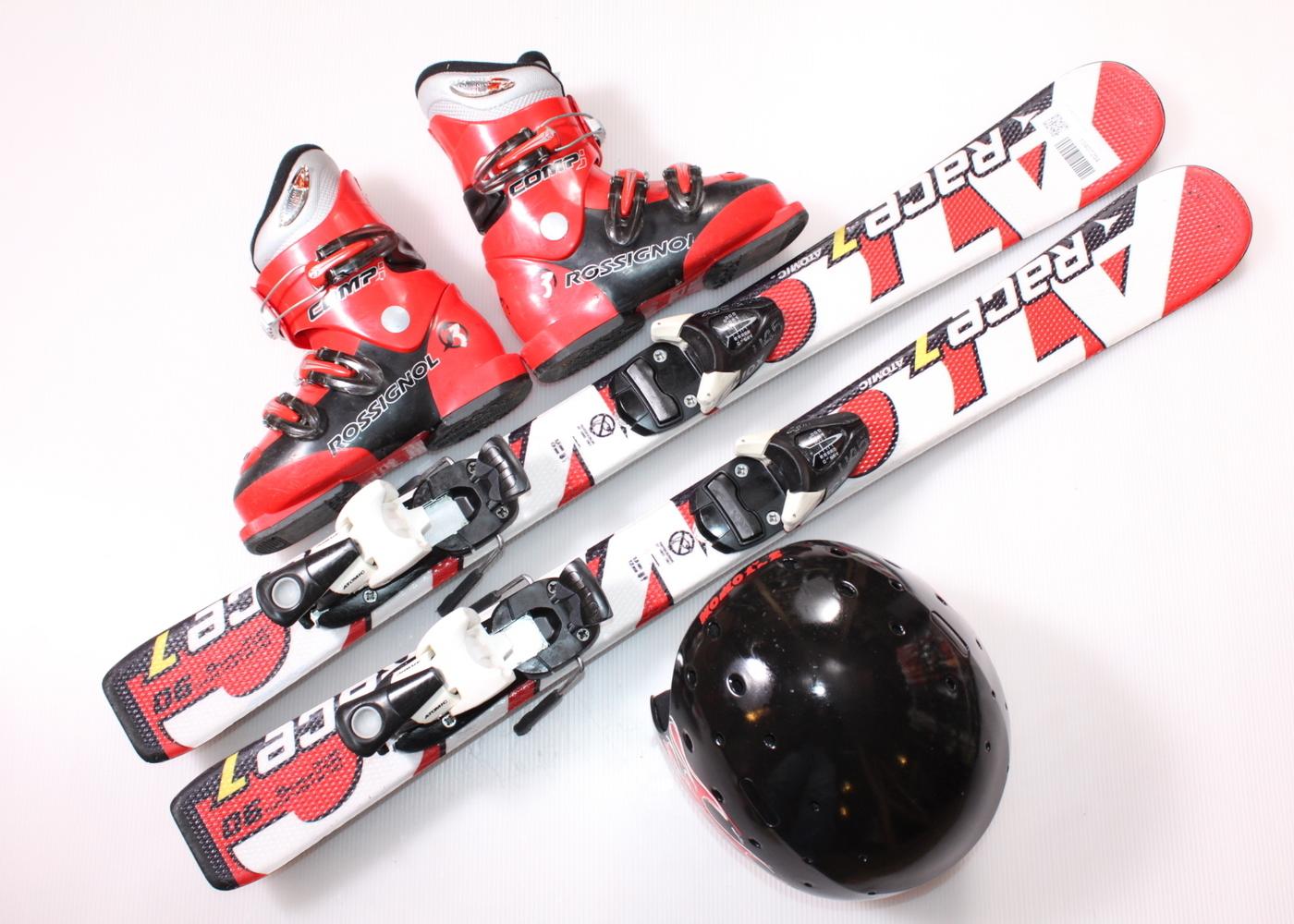 Dětské lyže ATOMIC RACE 7 90 cm + lyžáky  30.5EU + helma