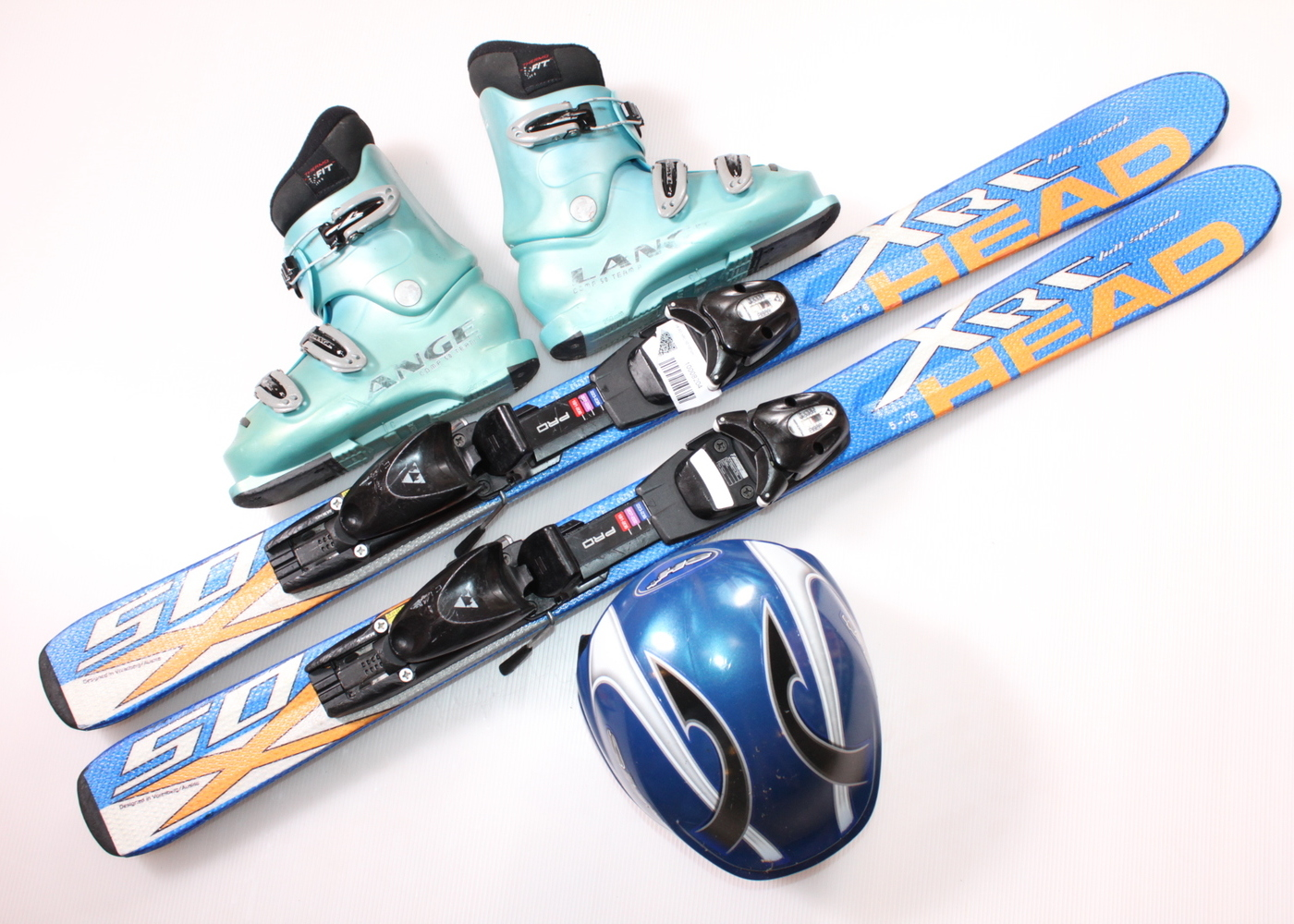 Dětské lyže HEAD XRC 50 107 cm + lyžáky  34EU + helma