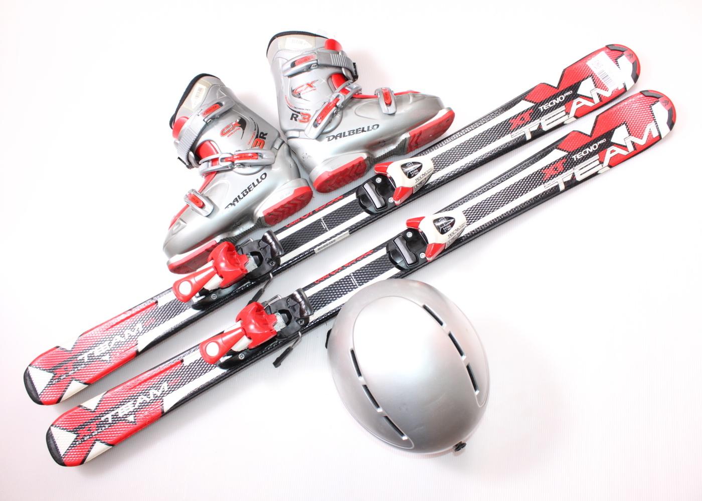 Dětské lyže TECNO XT TEAM 120 cm + lyžáky  36.5EU + helma