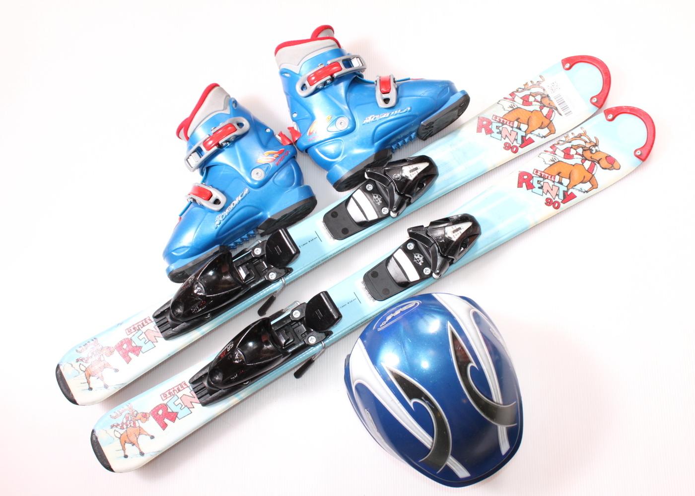 Dětské lyže DYNASTAR LITTLE RENTY 90 cm + lyžáky  30.5EU + helma