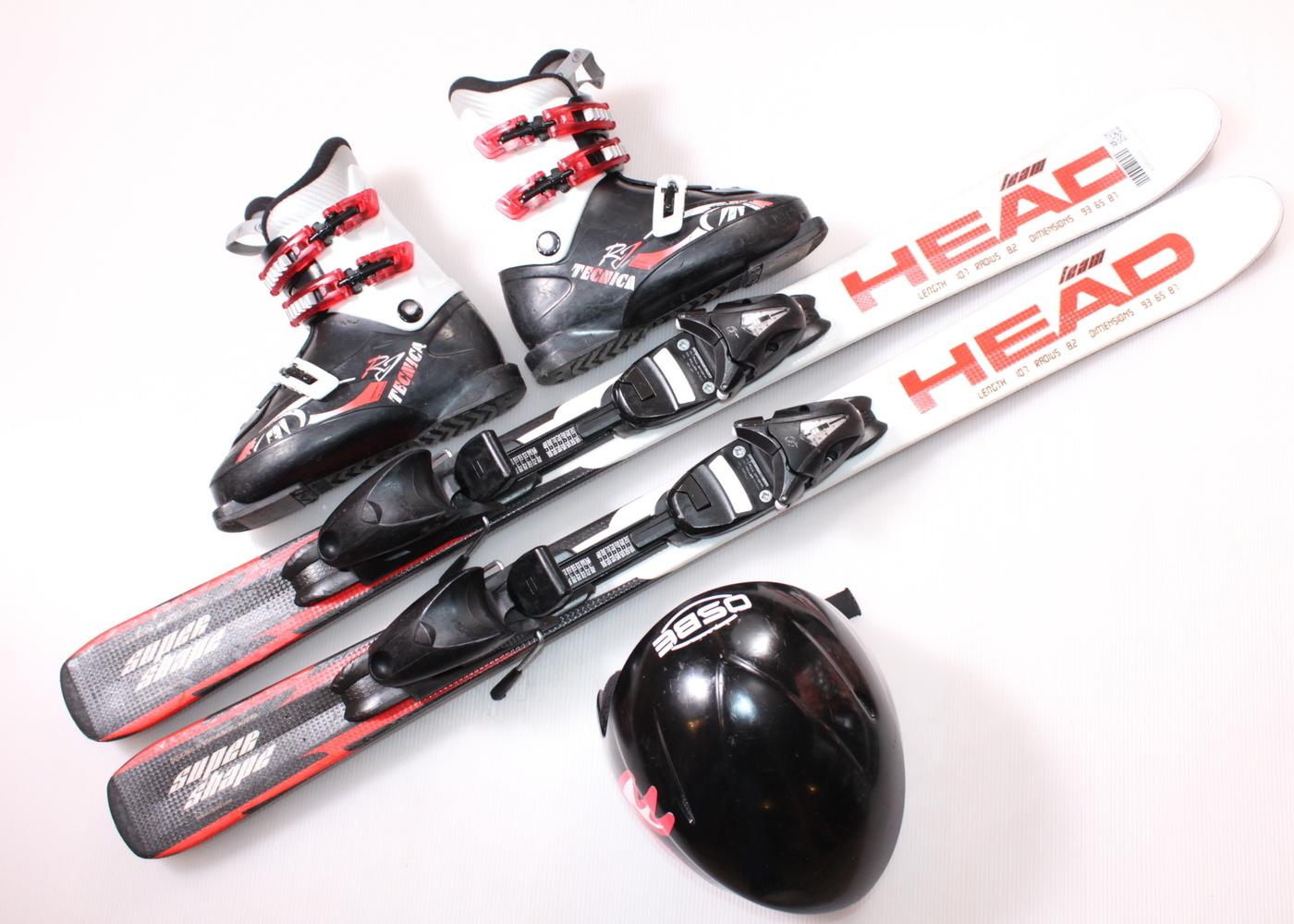 Dětské lyže HEAD SUPERSHAPE TEAM 107 cm + lyžáky  35EU + helma