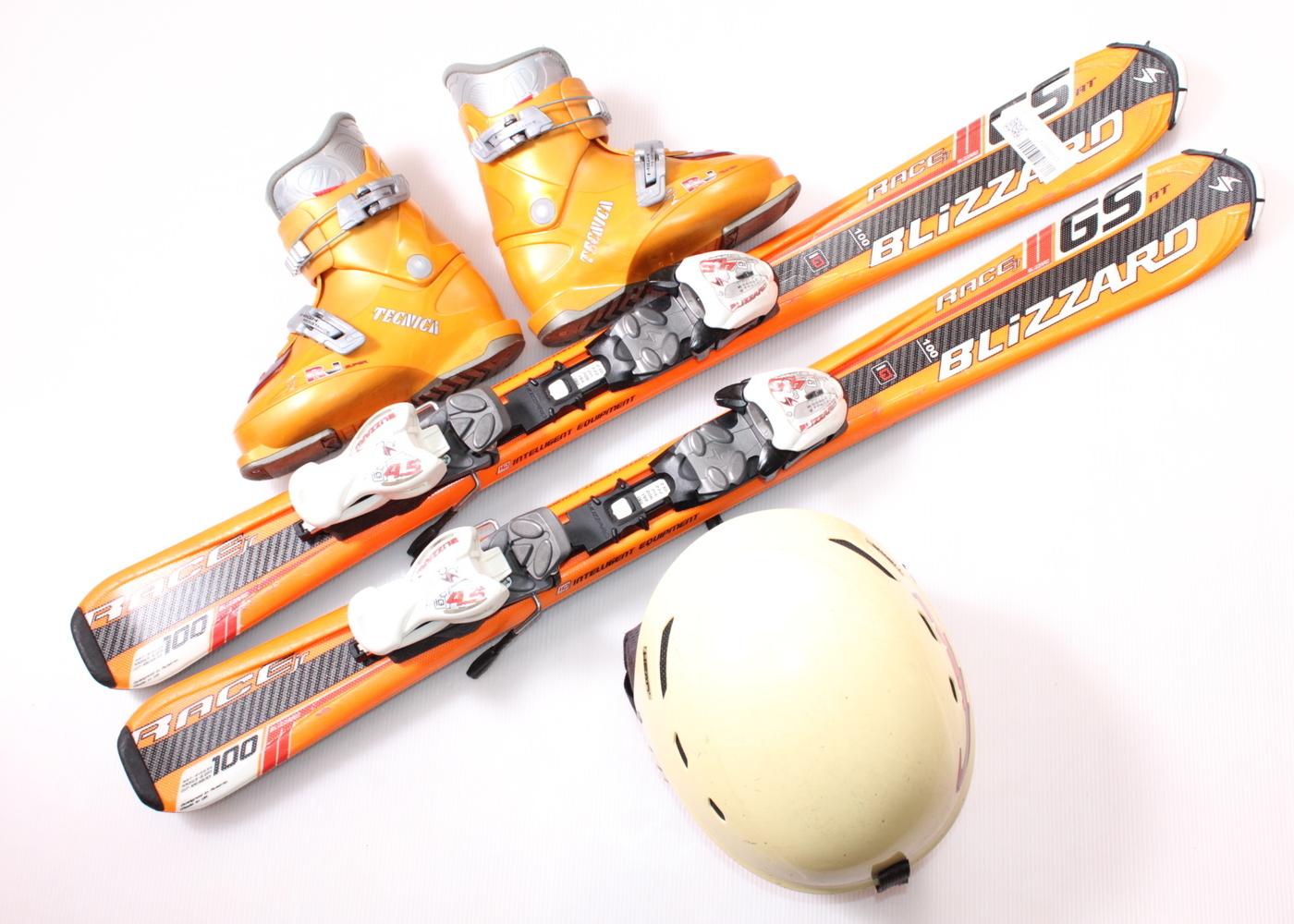 Dětské lyže BLIZZARD GS RACE 100 cm + lyžáky  31EU + helma