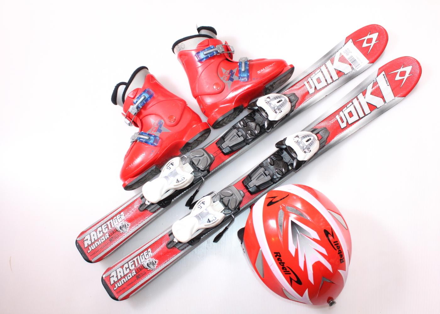 Dětské lyže VOLKL RACETIGER GS 90 cm + lyžáky  30EU + helma