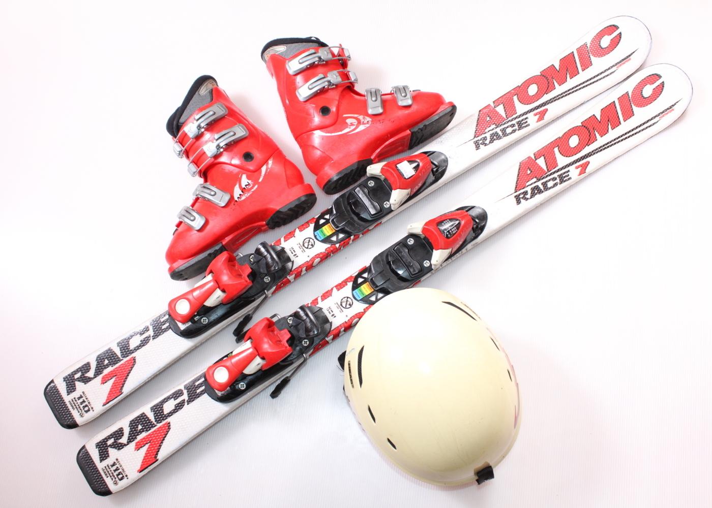Dětské lyže ATOMIC RACE 7 110 cm + lyžáky  33EU + helma