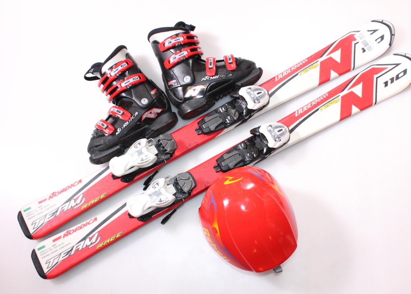 Dětské lyže NORDICA DOBERMANN TEAM RACE J 110 cm + lyžáky  30.5EU + helma