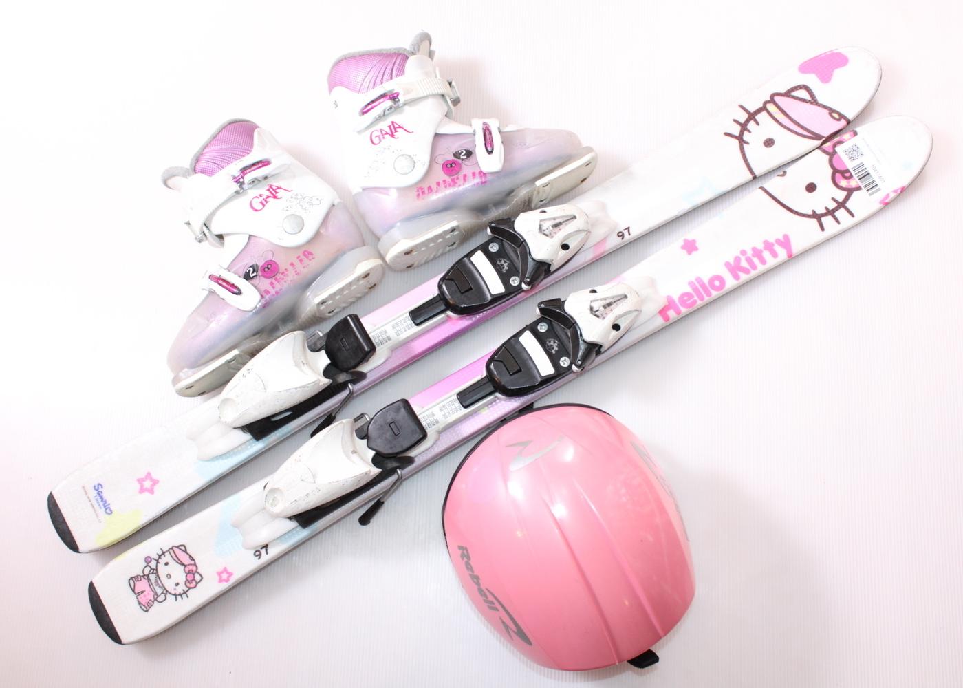 Dětské lyže HEAD HELLO KITTY 100 cm + lyžáky  31EU + helma