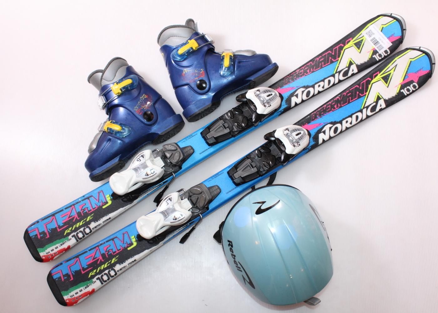 Dětské lyže NORDICA DOBERMANN TEAM RACE J 100 cm + lyžáky  31EU + helma