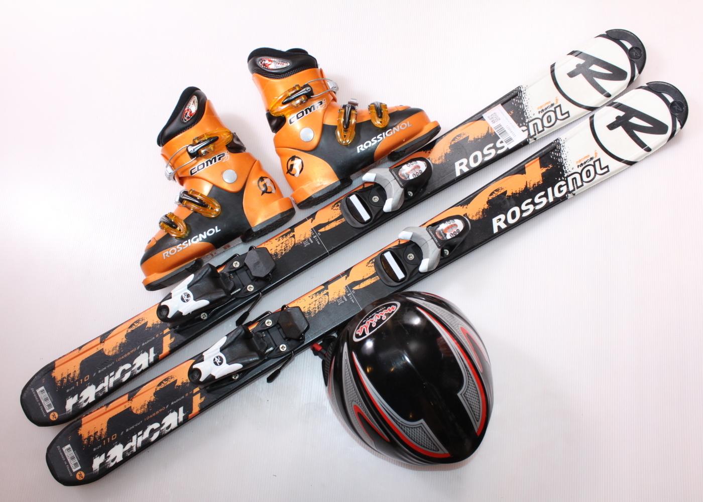 Dětské lyže ROSSIGNOL RADICAL JR 110 cm + lyžáky  32EU + helma