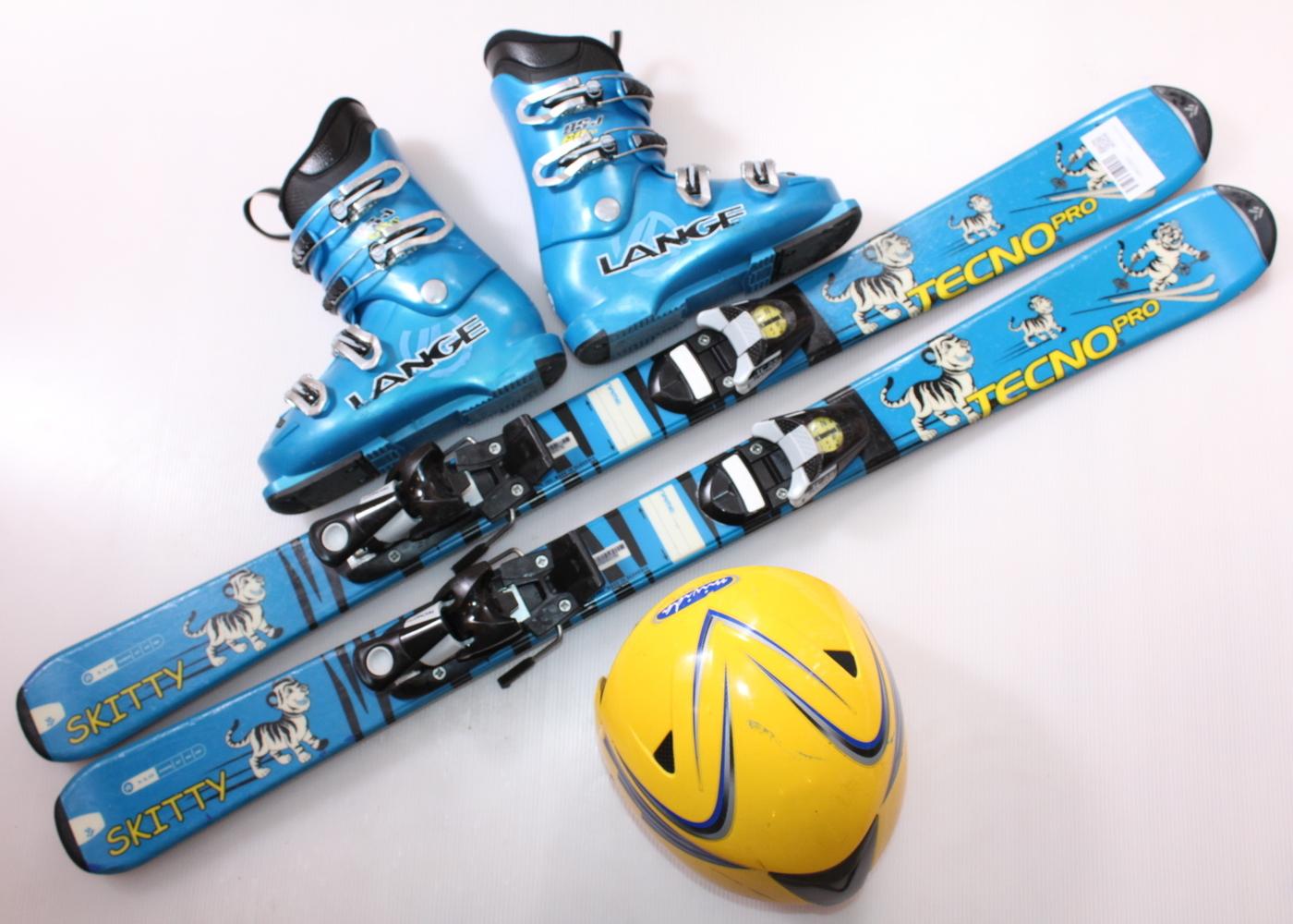 Dětské lyže TECNO SKITTY 110 cm + lyžáky  33EU + helma