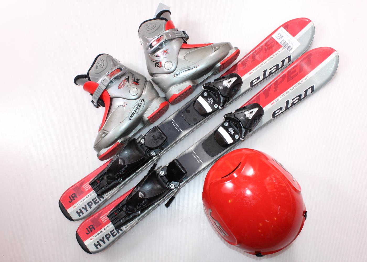 Dětské lyže ELAN HYPER EXPLORE  80 cm + lyžáky  29EU + helma