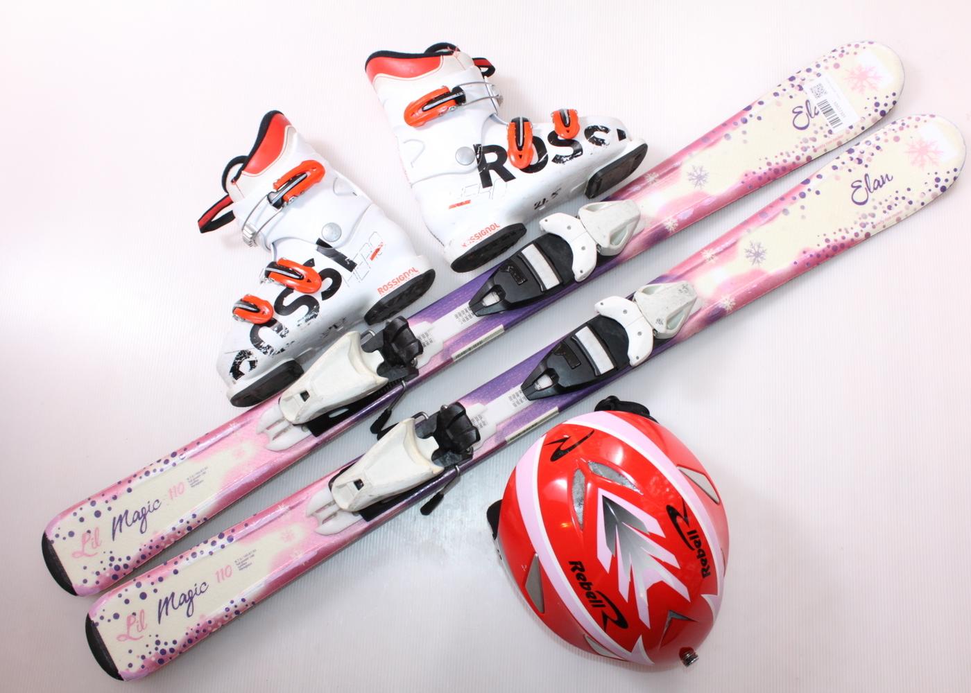 Dětské lyže ELAN LIL MAGIC 110 cm + lyžáky  34EU + helma
