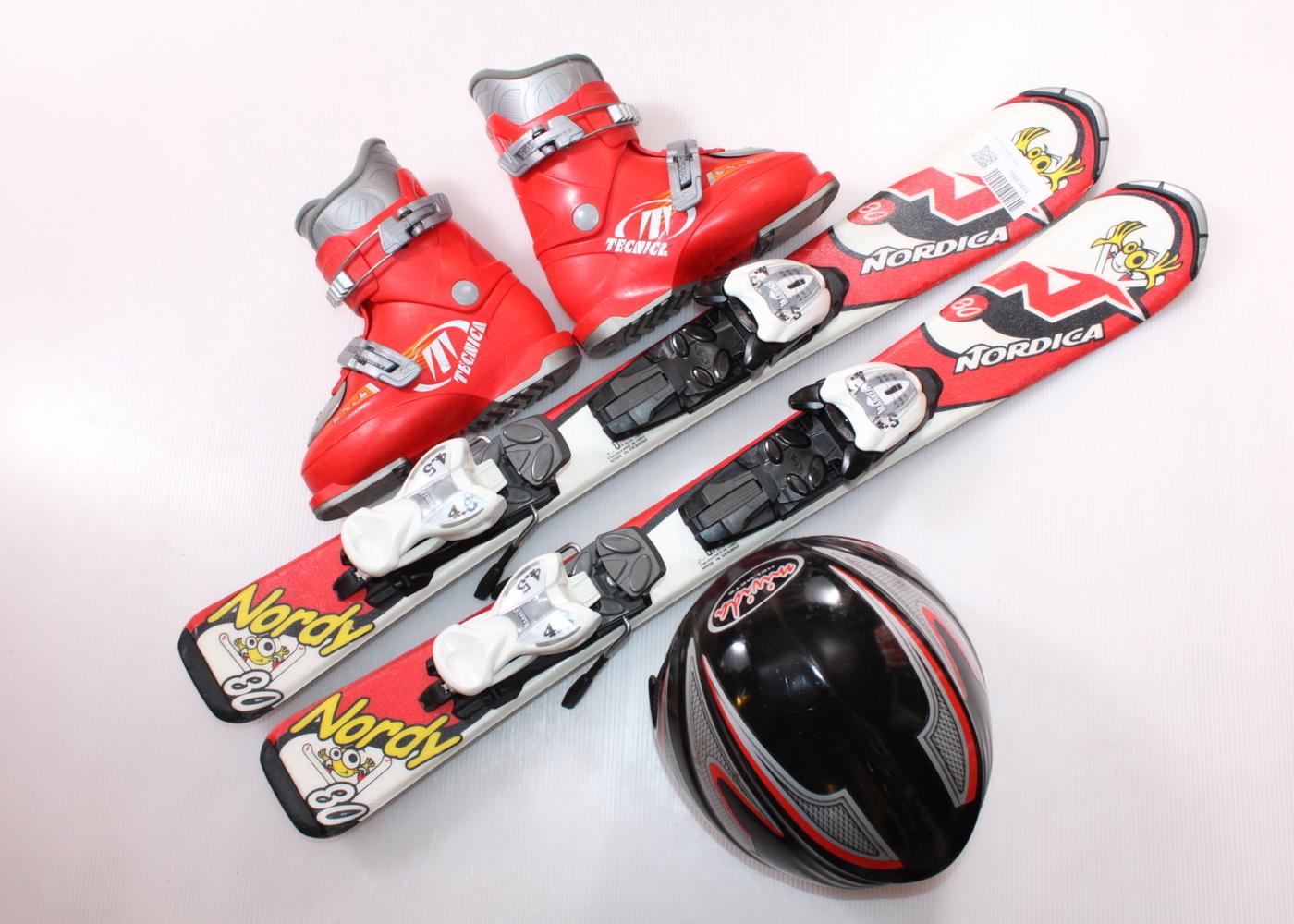 Dětské lyže NORDICA NORDY 80 cm + lyžáky  30EU + helma