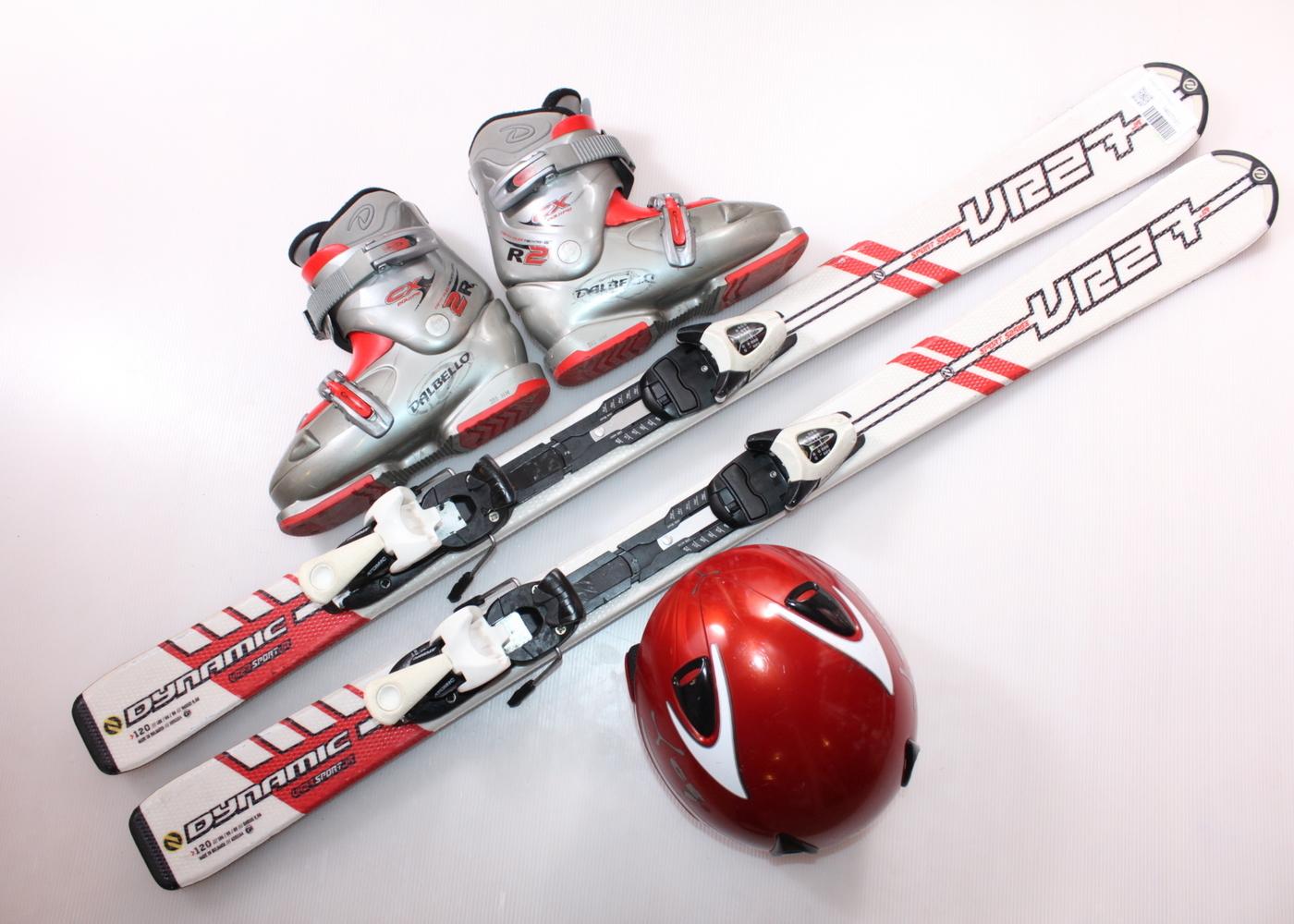 Dětské lyže DYNASTAR VR 27 120 cm + lyžáky  36EU + helma
