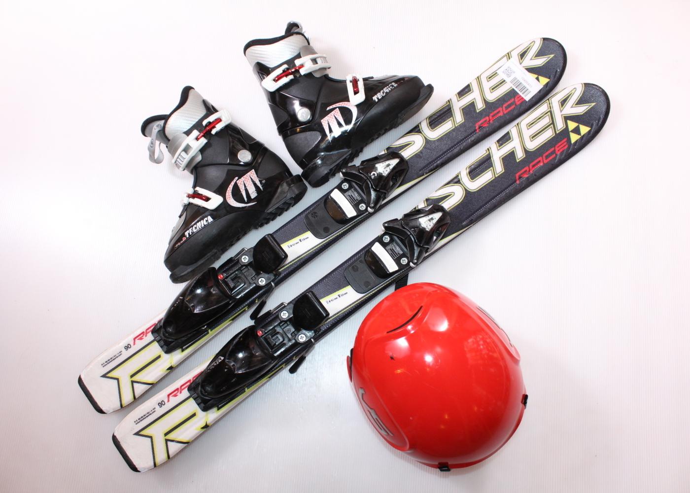 Dětské lyže FISCHER RC4 RACE 90 cm + lyžáky  30.5EU + helma