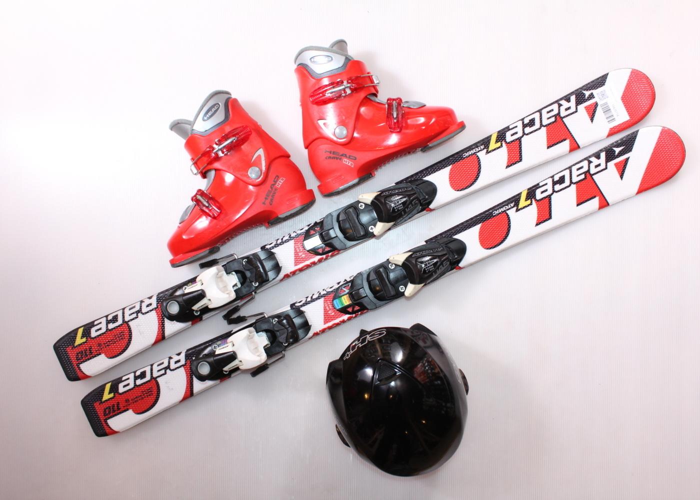 Dětské lyže ATOMIC RACE 7 110 cm + lyžáky  34EU + helma