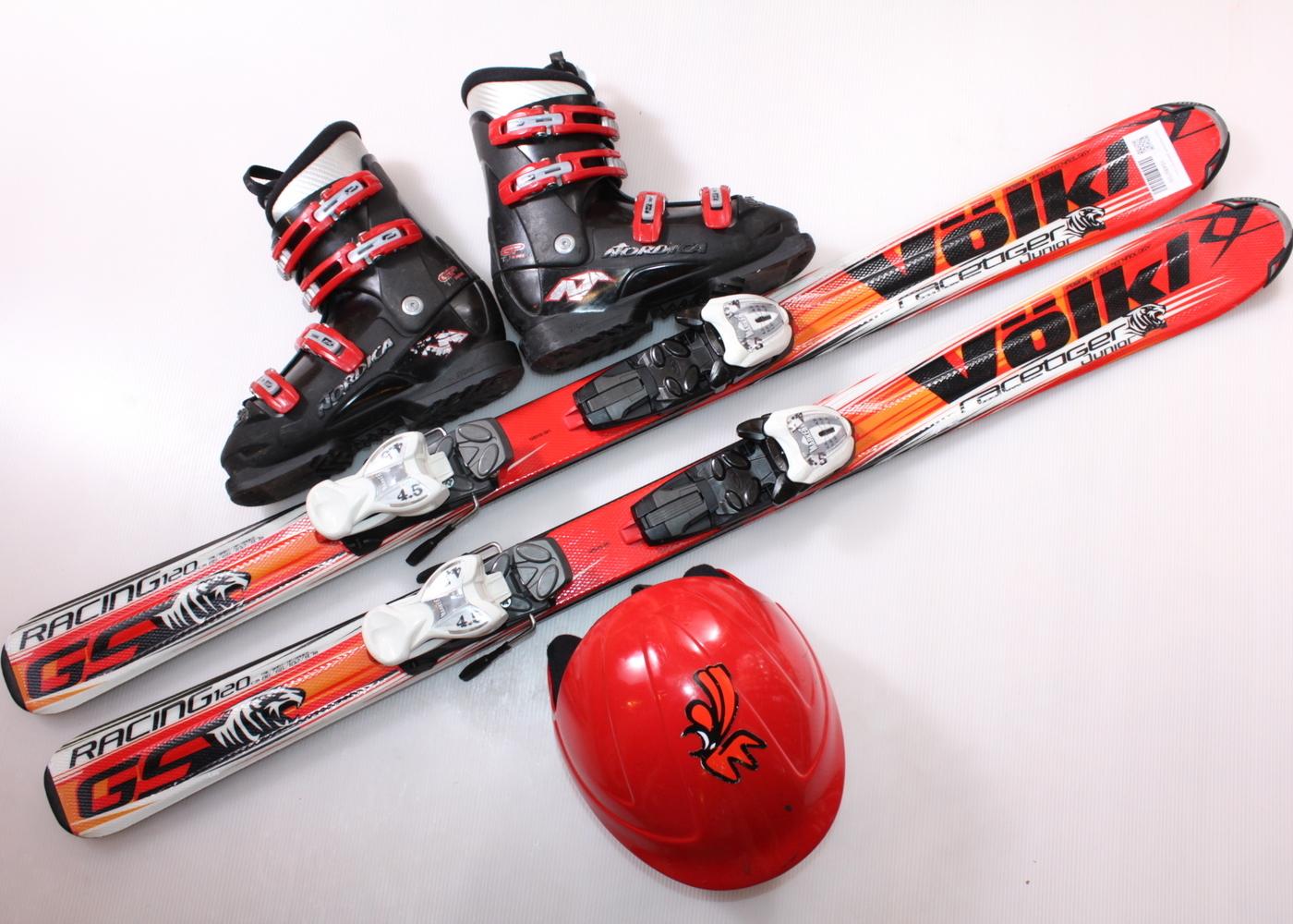 Dětské lyže VOLKL RACETIGER JUNIOR GS 120 cm + lyžáky  37EU + helma