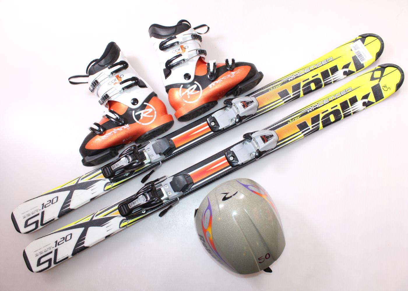 Dětské lyže VOLKL RACETIGER SL 120 cm + lyžáky  36.5EU + helma