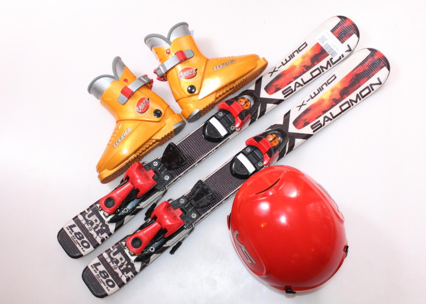Dětské lyže SALOMON X WING FURY 80 cm + lyžáky  28.5EU + helma