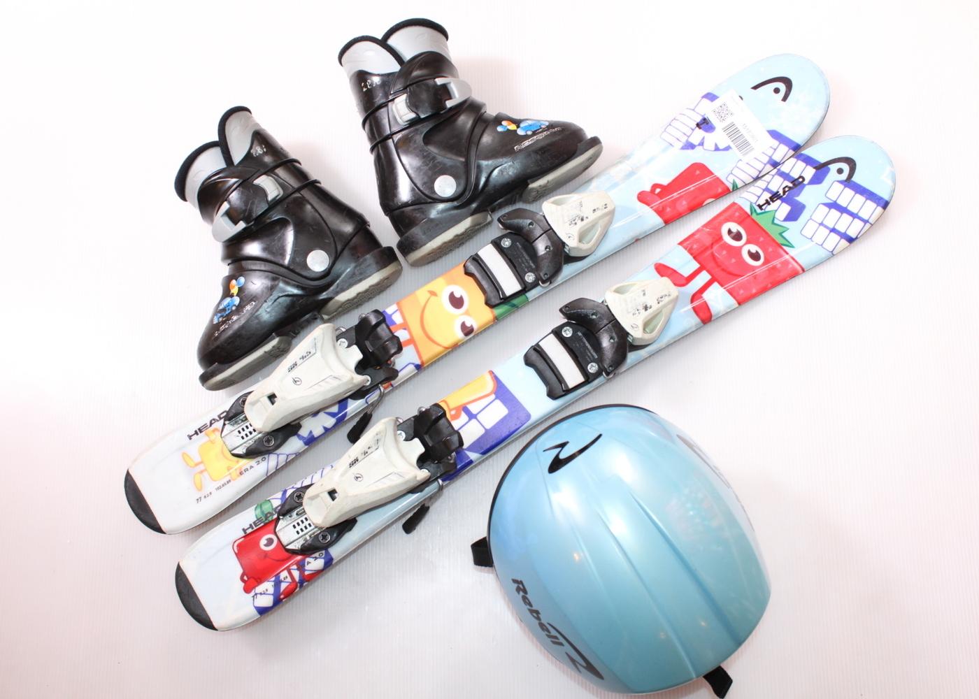 Dětské lyže HEAD PEZ 77 cm + lyžáky  28EU + helma