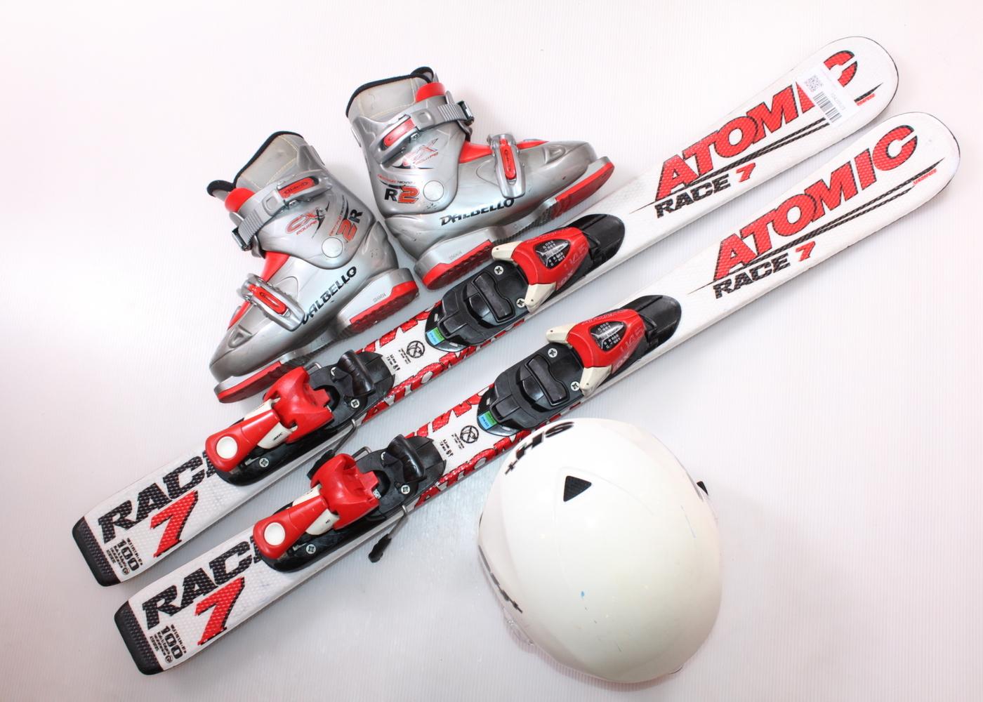 Dětské lyže ATOMIC RACE 7 100 cm + lyžáky  30.5EU + helma