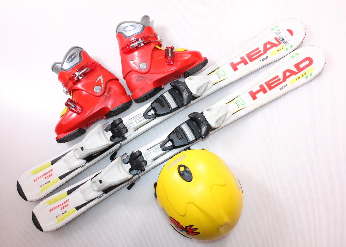 Dětské lyže HEAD SUPERSHAPE TEAM 97 cm + lyžáky  30.5EU + helma