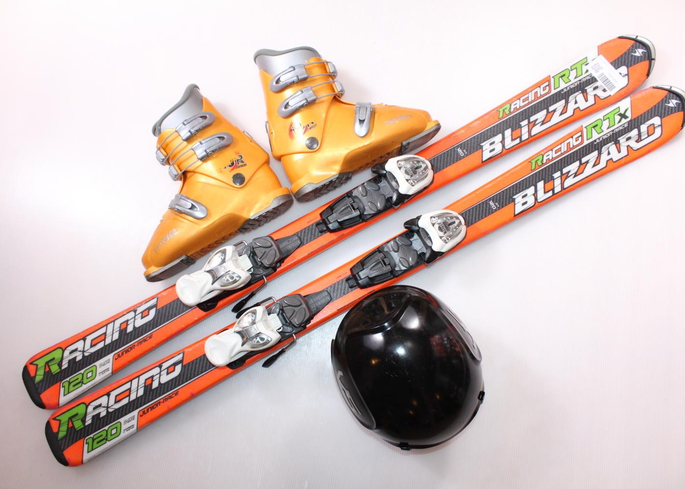 Dětské lyže BLIZZARD RTX RACING 120 cm + lyžáky  35EU + helma