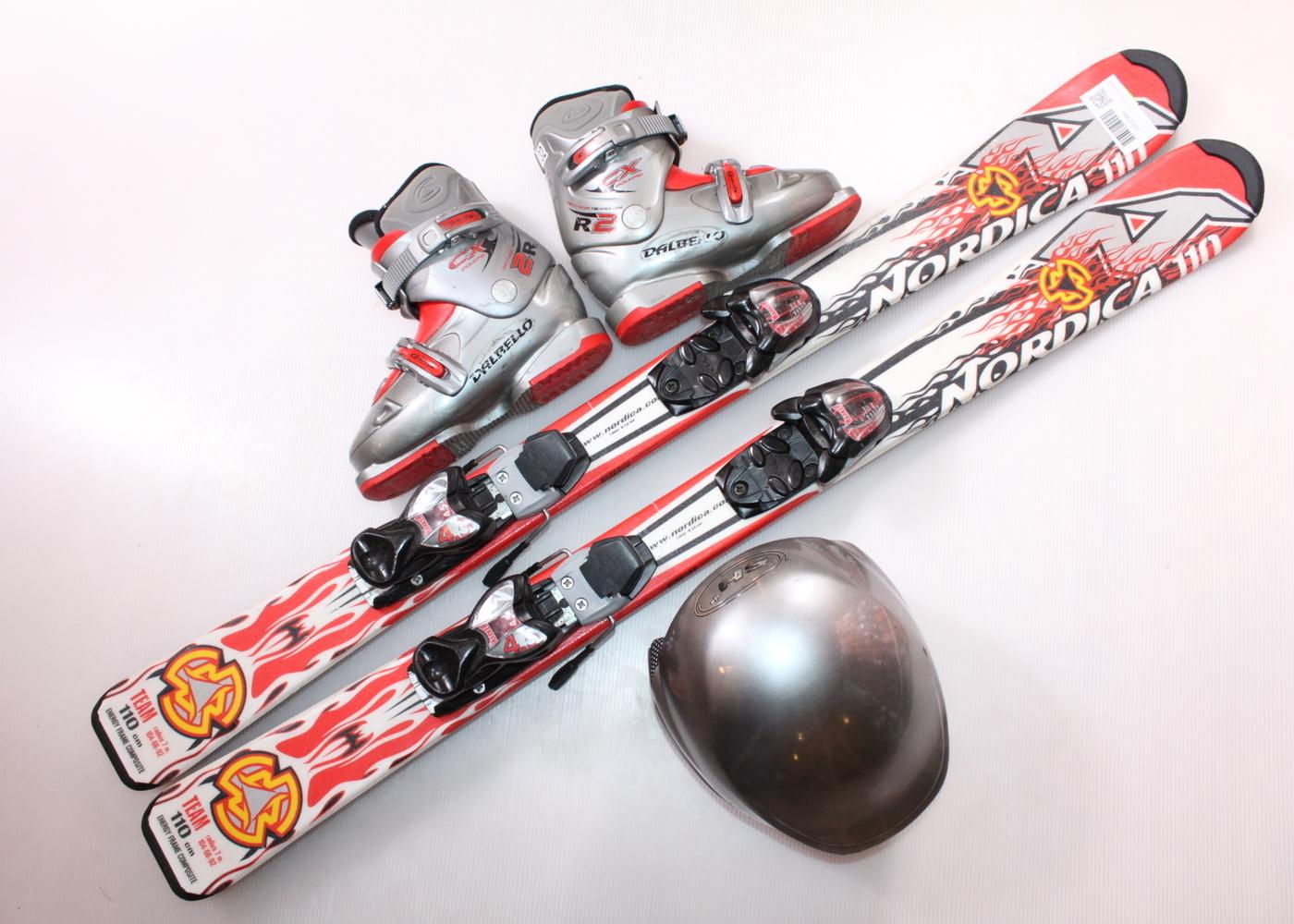 Dětské lyže NORDICA TEAM 110 cm + lyžáky  32EU + helma
