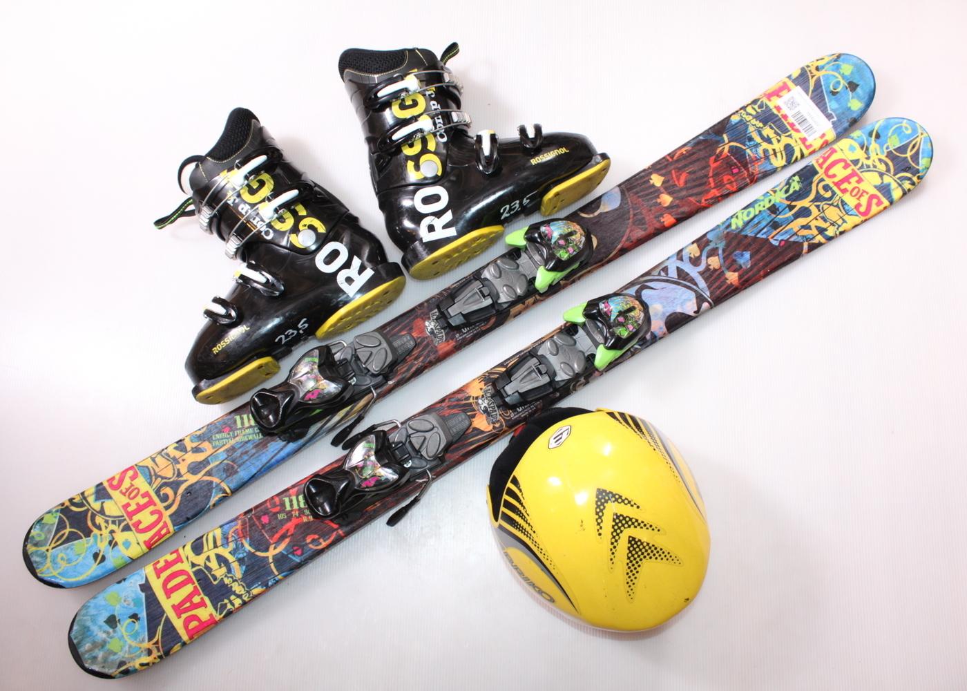 Dětské lyže NORDICA ACE OF SPADES J 118 cm + lyžáky  37EU + helma
