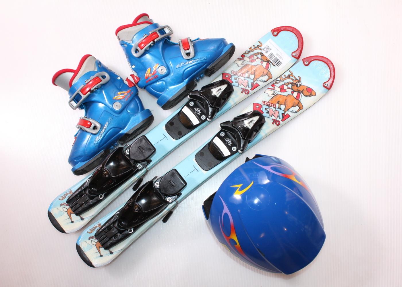 Dětské lyže DYNASTAR LITTLE RENTY 70 cm + lyžáky  28EU + helma