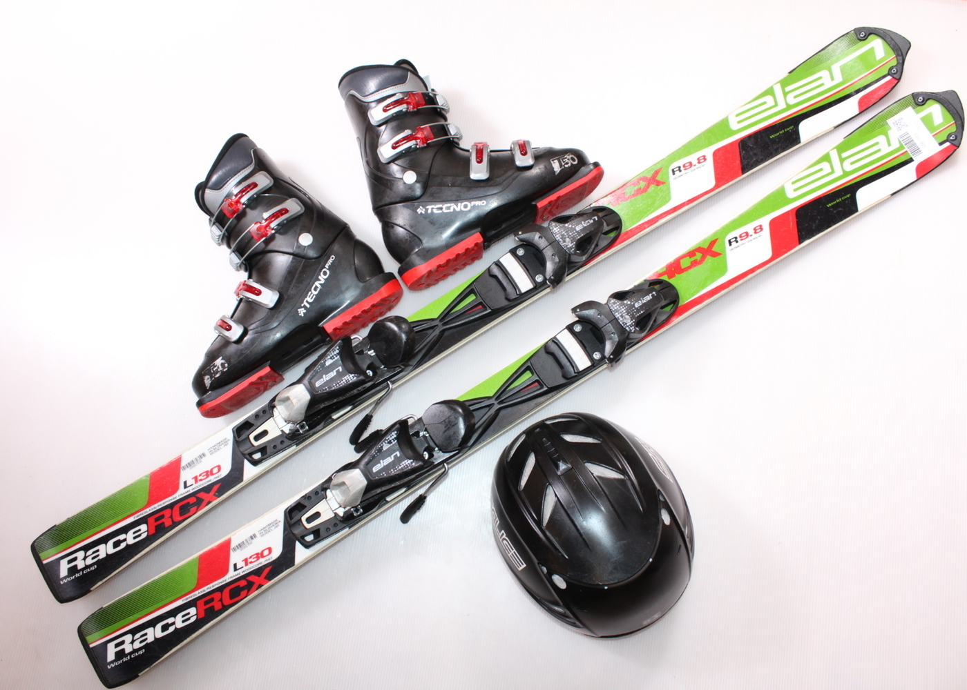 Dětské lyže ELAN RACE RCX 130 cm + lyžáky  38EU + helma