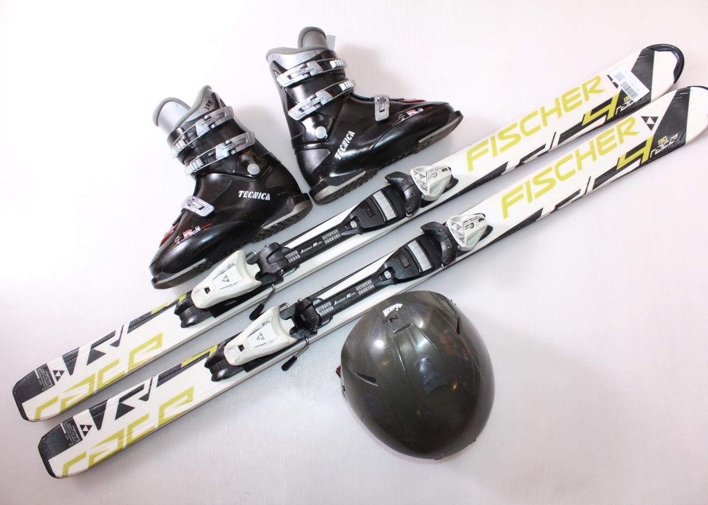 Dětské lyže FISCHER RC4 RACE JR 130 cm + lyžáky  38.5EU + helma